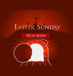 Hi is risen holy week easter banner easter vector
