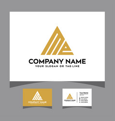 Initials me triangle logo with a business card vector