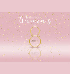 International womens day background with gold vector