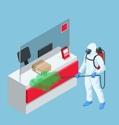 Isometric man wearing a protective suit disinfects vector