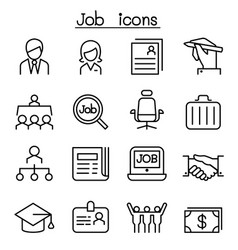 job employment icon set in thin line style vector image