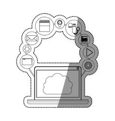 Laptop and cloud computing design vector