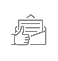 Letter with thumb up line icon customer feedback vector