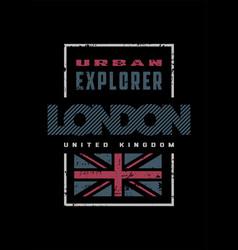 london grange style t-shirt print design on a vector image
