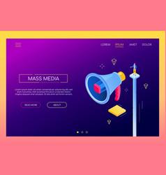 mass media - modern isometric web banner vector image