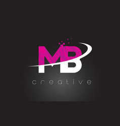 Mb m b creative letters design with white pink vector