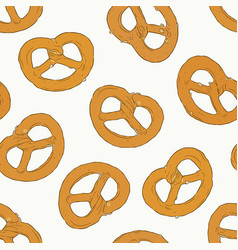 mini salt pretzel hand draw sketch vector image