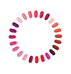 Nail palette set colorful nails settled in a vector