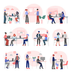 office emloyees at work set business colleagues vector image