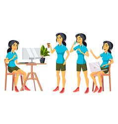 office worker woman happy clerk servant vector image