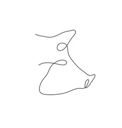one line pig head design silhouette logo design vector image