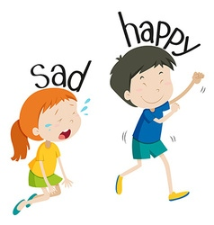Opposite adjective sad and happy vector image