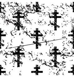 Orthodox cross pattern grunge monochrome vector