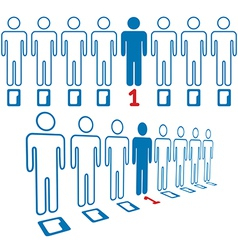 Person stands out line of digital people vector image