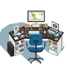photographer workplace vector image