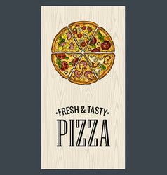 poster with slice pizza pepperoni hawaiian vector image