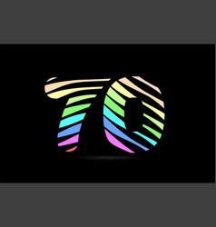 rainbow 70 seventy number stripes logo icon design vector image