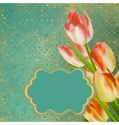 Retro floral with polka dot tulips EPS 10 vector image vector image