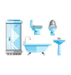 sanitary engineering icons set bathtub vector image