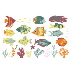 set cute oceanic fish isolated on a white vector image