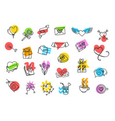 set of cute valentines day icons clipart vector image