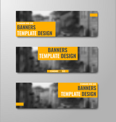 set of horizontal banners with orange rectangular vector image