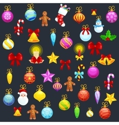 Set of isolated Christmas decoration for Merry vector image