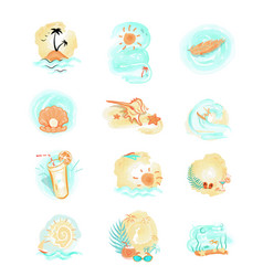 set of summer logo icons summer time vector image