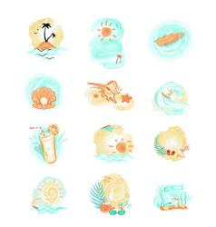 set summer logo icons summer time vector image