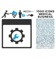 Setup tools calendar page icon with 1000 medical vector