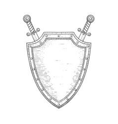 Shield with swords hand drawn sketch vector
