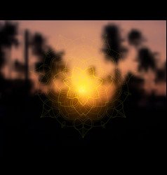 Shiny floral mandala on sunset tropic blurred vector