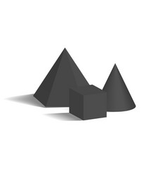 small cone square pyramid and cube 3d shapes vector image