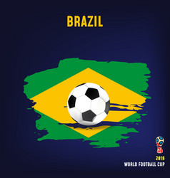 soccer ball on flag of brazil made of brush vector image