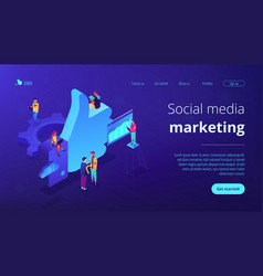 Social media marketing isometric 3d landing page vector
