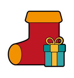 Sock with presents christmas related icon image vector