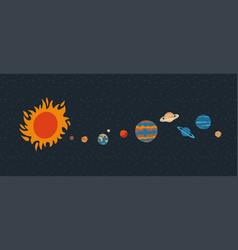 solar system with sun orbits and planets on dark vector image