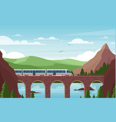 speed train on stone bridge flat vector image