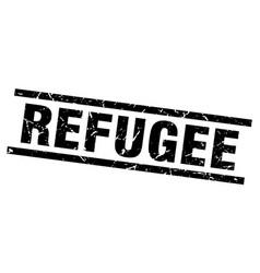 Square grunge black refugee stamp vector