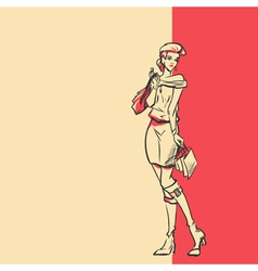 Stylish woman in full length after shopping vector