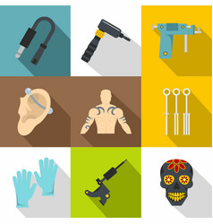 Tattoo store icons set flat style vector