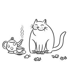 Tea with the cat vector
