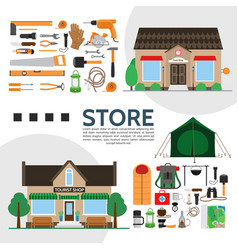 tools and tourist shops elements composition vector image