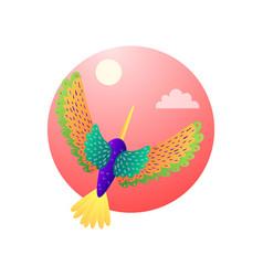 Tropical motley hummingbirds with color plumage vector