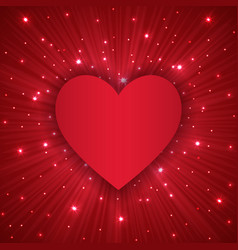 Valentine day background with red heart vector