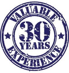 Valuable 30 years of experience rubber stamp vect vector