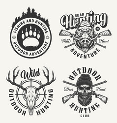 Vintage monochrome hunting prints vector