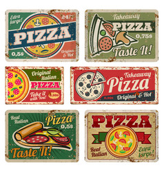Vintage pizza metal signs with grunge texture vector