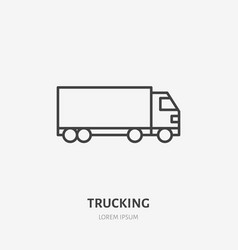 Waggon delivery flat line icon truck sign thin vector