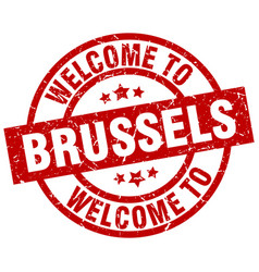 Welcome to brussels red stamp vector